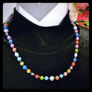 Hematite and Colorful Glass Beads